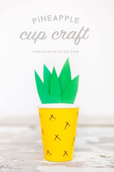 Pineapple Cup Craft Make a cute pineapple out of a paper cup – great for parties! Kids Crafts, Summer Crafts, Cute Crafts, Crafts To Do, Preschool Crafts, Craft Projects, Paper Cup Crafts, Paper Cups, Pineapple Cup