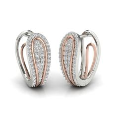 Real Natural Round Diamond Certified Hoop Earring in Rose/White Gold Diamond Solitaire Earrings, Diamond Earing, Diamond Studs, Diamond Jewelry, Silver Jewelry, Black Diamond, 925 Silver, Sterling Silver, Gold Earrings Designs
