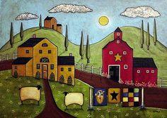 Old Red Weathered Barn Folk Art Karla Gerard Canvas Giclee Print Karla Gerard, Lilo E Stitch, Pintura Country, Landscape Quilts, Primitive Folk Art, Arte Popular, Naive Art, Country Art, Sheep Farm