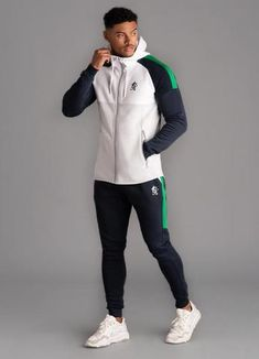 GK Lombardi Tracksuit Top - Microchip White Navy New Gym King 2019 Collection Mens tracksuit top Style Lombardi Cotton polyester mix white , microchip, navy and green mix GK logo on chest two zip pockets full zip closure machine wash Love Clothing, Mens Clothing Styles, Mens Tracksuit Set, Casual Outfits, Fashion Outfits, Men's Fashion, Slim Fit Joggers, Track Suit Men, Adidas Outfit