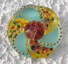 Czech Glass Pinwheel Button Green Pink by lookingglassbuttons, $5.25