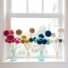 And even more #thestitchmarket prep! I love how these pompom flowers perk up my window sill! (DIY on the blog awhile back on these)