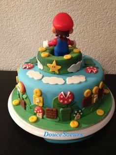 Gâteau Mario Bros Mario Birthday Cake, Super Mario Birthday, Super Mario Party, Mario Kart Cake, Mario Bros Cake, Bolo Super Mario, Super Mario Bros, Gamer Wedding Cake, Pastel Mickey