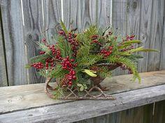 Winter / Christmas Floral Arrangement  Arrangement in Sleigh