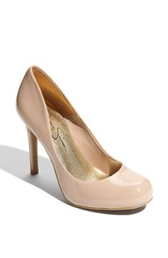 Nude patent leather heels by Jessica Simpson
