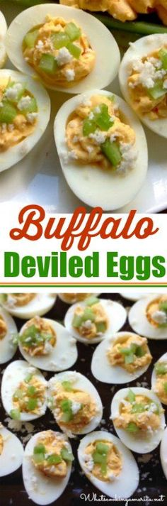 Deviled eggs with a spicy, tangy kick! |whatscookingamerica.net | #deviled #eggs #easter #buffalo #fathersday #memorialday #4thofjuly