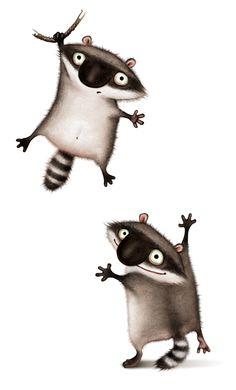 Raccoons by Oxana Mosalova, via Behance
