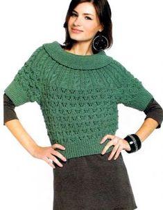 Suéter con canesú circular http://www.tejidogratis.com/44-tejido-para-mujeres-agujas/sueter/671-su-ter-con-canes-circular.html