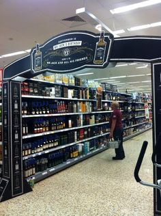 Jack Daniel's aisle signage entrance. Superb reminder for Shoppers in the Whisky aisle. #POS