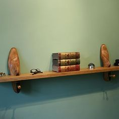 Vintage Cobbler's Wooden Shoe Last Shelf