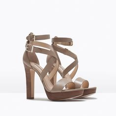 WIDE HEEL LEATHER SANDAL - Shoes - Woman - SHOES & BAGS | ZARA United