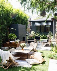 Small patio inspiration for our backyard. Summer patio design and product source round up including the outdoor furniture sale at World Market. Design Exterior, Patio Design, Garden Design, Firepit Design, Courtyard Design, Indoor Outdoor Living, Outdoor Rooms, Outdoor Gardens, Outdoor Seating