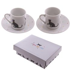 Set of 2 Espresso Cup and Saucer Animal I Love My by getgiftideas