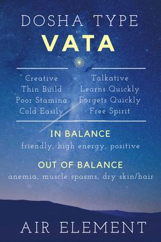 Air Element Vata Dosha. Vata is one of three Ayurveda Dosha Types