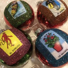 Loteria game images are surrounded by micro glitter! They'll add a fiesta style look to your Christmas tree. Mexican Wedding Favors, Mexican Flowers, Mexican Christmas, Glass Ornaments, Teacher Gifts, Christmas Bulbs, Glitter, Game, Holiday Decor