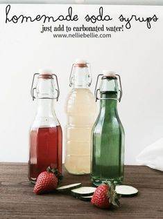Homemade soda syrup recipes allow you to control what goes into your sodas, and how sweet to make them. It takes just a couple ingredients and bit of time. Soda Stream Recipes, Soda Recipe, Italian Soda Syrup Recipe, Homemade Food Gifts, Homemade Syrup, Infused Water Recipes, Simple Syrup, Hacks, Iced Coffee