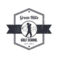 golf club: Golf school vintage logo, badge, with golfer, golf player swinging golf club Illustration