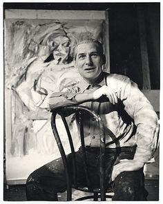 Willem de Kooning with his work, ca. 1952