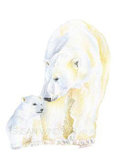 Ijsberen aquarel schilderij van 5 x 7 Fine Art door SusanWindsor