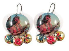 Recycled Tin Earrings, Hawaiian Woman with Ukulele, Wahine, by TinMoonJewelryworks on Etsy. $40