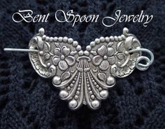 Shawl Pin  Victorian Floral Silver Shawl Pin by Bentspoonjewelry, $18.00