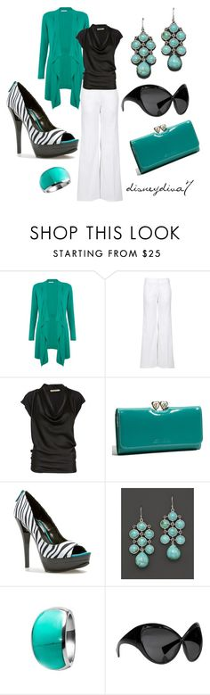 """""""Turquoise"""" by disneydiva7 ❤ liked on Polyvore featuring Windsmoor, Missoni, Rabens Saloner, Ted Baker, Michael Antonio, Elizabeth Showers, Tom Ford, turquoise jewelry, white pants and zebra shoes"""