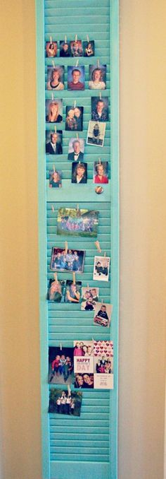picture display idea using old shutters. Louvre Doors, Old Shutters, Hanging Pictures, Hang Photos, Display Pictures, Display Ideas, Picture Holders, Diy Chalkboard, Reno
