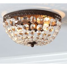 Pottery Barn Mia Faceted-Crystal Flush-Mount Ceiling Fixture (£120) ❤ liked on Polyvore featuring home, lighting, ceiling lights, light, crystal ceiling lamp, crystal lighting, crystal lamps, crystal light and pottery barn