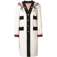 Gucci GG Web Embroidered Coat (42.459.985 IDR) ❤ liked on Polyvore featuring outerwear, coats, floral coat, wool coat, mid length coat, embroidered coats and long sleeve coat