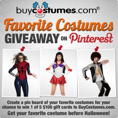 BuyCostumes Favorite Costumes Giveaway on Pinterest! #Halloween ...awesome site! I've had a long relationship with this company and they are very good about sending you $$$ saving deals, announcements & staff are super helpful! So, check out buycostumes.com for all your costume needs year 'round! They're not just for Halloween, great party fun & dress up!