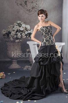 ZOOM IMAGE      Intricate Black Taffeta Roses Pattern Bodice Fully Pick-Ups Skirt Wedding Dress With Front Split