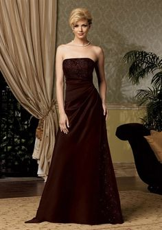 A-line Strapless Floor-length in Satin Mother of the Bride Dress