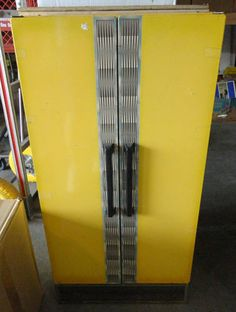 Vintage Sears Yellow Kitchen Metal/Tin Child Size Double Door Refrigerator W/Ice