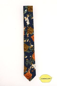 Floral Skinny Tie Floral Wedding Tie Floral Vintage by Lemoncliff