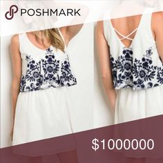 COMING SOON! Boho Floral Ruffle Dress Beautiful white dress with navy floral details! Cotton polyester blend. Like this item to be notified when it comes in (notification via price drop)! WILA Dresses