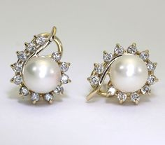 Diamond pearl earrings 14K yellow gold paisley 24 round brilliants 8.5 MM .95CT!