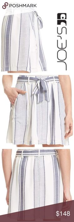 ⚡️🎉JOIE 100% Silk Zelphia B Stripe Skirt, Large JOIE 100% Silk Zelphia B Stripe Skirt, Large  BRAND: Joie SIZE: Large COLOR: Porcelain-Dark Navy (White-Blue) MATERIAL: 100% silk CARE: Dry Clean only CONDITION: NEW with tags STYLE:3455-Sk124B MRSP: $248 DETAILS: 100% Silk. Super Vintage Washed Savory Silk. Front pockets. Lined. Matching self belt. Slant pockets. Hook and zipper closure center front. Belt loops. Gently flared style. Above knee length. Tea Stripe Printed. Made in China…