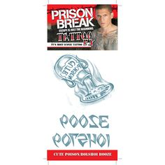 """Temporary Tattoos from your favorite TV show """"Prison Break"""" These are professional quality tattoos. Box Dimensions (in Inches) Length : 14.00 Width : 12.00 Height : 4.00"""
