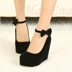 Wholesale Low Price 2014 New Sexy Lady Red Black Bow High Heels Womens Shoes Wedges Fashion Womens Pumps Free Shipping 0