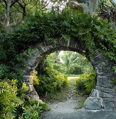 Moon Gate in Palm Grove Garden, Devonshire Parish, Bermuda (photo by John Gaffen) (from Saatchi Art)