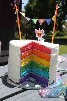 Rainbow cake such a cute idea for a kids birthday party