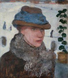 """Paula Modersohn-Becker, 1876–1907. """"Bildnis Martha Vogeler"""" (Portrait of Martha Vogeler), 1905/06, Oil on card, 54.7 × 48.3 cm."""