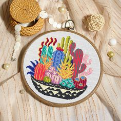 Colorful Cactuses Cross Stitch Pattern This pattern is an instant download PDF. Size: 108w x 110h stitches 14 Count Aida: approx. 7.71 x 8.07 inches or 19.59 x 20.50 cm Stitches Required: Full cross stitches Colors Required: 16 DMC floss colors PDF Included: - Pattern in color