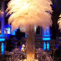 The Pierre, New York, NY - Great Gatsby theme white feather centerpiece