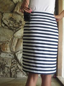 Life is Beautiful: navy blue & white striped skirt DIY
