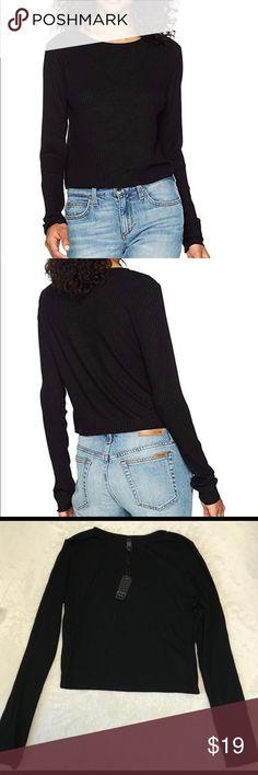 2dea0bde51a68 Michelle by Comune Zuma Long Sleeve Crop Top 96% Rayon, 4% Spandex Made