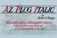 http://AZ Plug Italic is a beautiful serif font that is inspired by 1900's poster art from Edward Penfield and Franz Hazenplug.