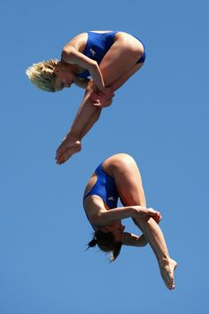 Monique Gladding and Megan Sylvester of Great Britain compete in the Women's 10m Synchro Platform at the Stadio del Nuoto on July 19, 2009 in Rome, Italy.