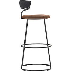 McGuire Furniture: Danish Cord Swivel Bar Stool: O-426T  Seat in walnut, back wrapped in black Danish cord