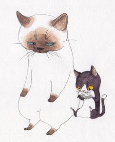 「おじさん、豚足食べたことある?」——by;まゆつば,How to Draw Critters and Creatures, Study Resources for Art Students , CAPI ::: Create Art Portfolio Ideas at milliande.com, Art School Portfolio Work , Critters, Creatures, Cartoon Animals, Cats